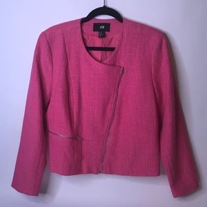 H&M Coral Pink Zip-up Blazer, 14